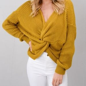 Sweaters - BOHO Mustard Knit Sweater with Knot on The Front